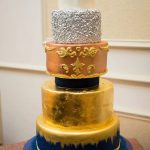 Charlotte - Textures of Gold Leaf, Silver, Rose Gold & Baroque Detail Wedding Cake