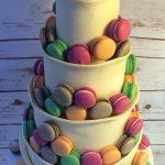 Chocolate wrap wedding cake with macarons