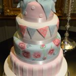 Vintage Painted Roses, Bow & Bunting Wedding Cake