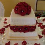 Red roses wedding cake, Lytham St Annes, Lancashire