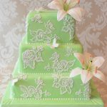 Lily wedding cake with lace brush embroidery