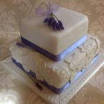 Square Lavender & Lace Wedding Cake