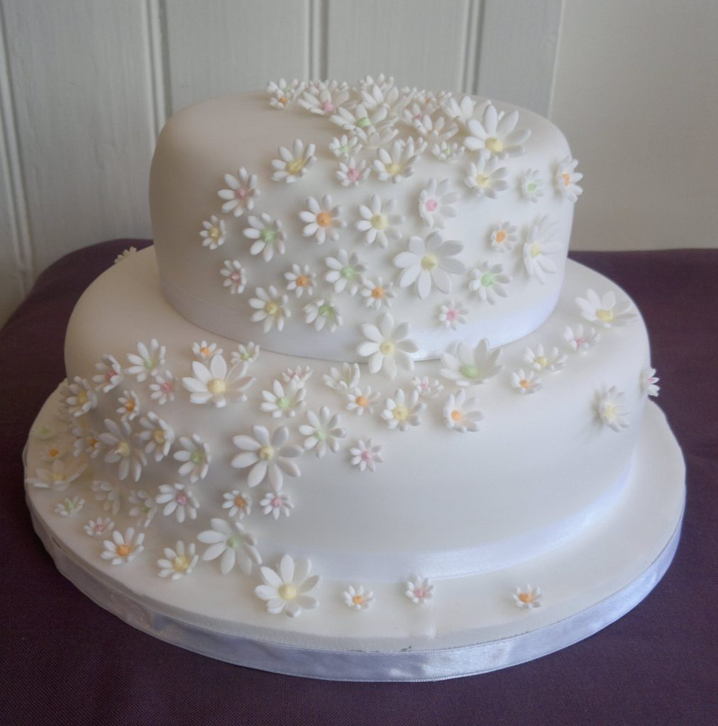 Two Tier Wedding Cake With Real Flowers