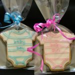 Gift Wrapped Baby Shower or Christening Cookies Pink or Blue Baby Grow Baby Onesie
