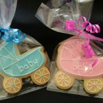 Gift Wrapped Baby Shower or Christening Cookies Pink or Blue Baby Pram