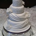Carla - White Lustre, Fondant Drapes, Roses & Piped Embroidery Wedding Cake