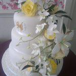Cascading Wedding Flowers Cake