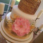 Gold leaf & gold sequin wedding cake