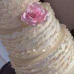 White ruffle wedding cake