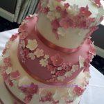 Dusky rose floral wedding cake