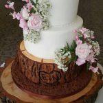 Tree bark wedding cake with sugar flowers