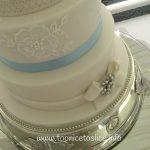 Pale Blue and Lace Wedding Cake