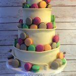 Chocolate Wrap and Macaron Wedding Cake