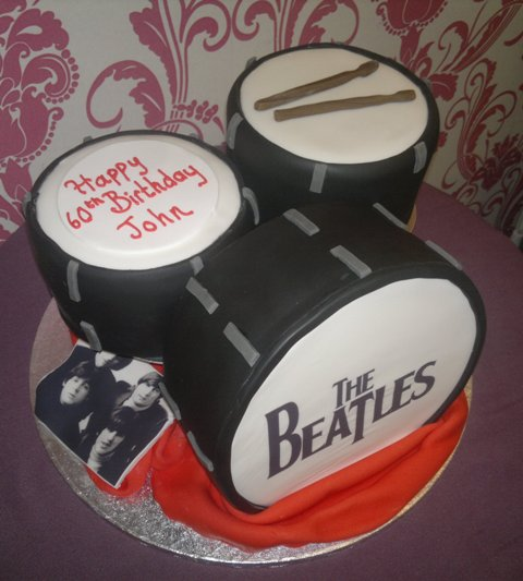 Beatles Drum Kit Birthday Cake