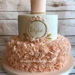Peach ruffles Christening cake