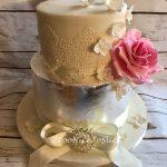 Silver leaf two tier wedding cake