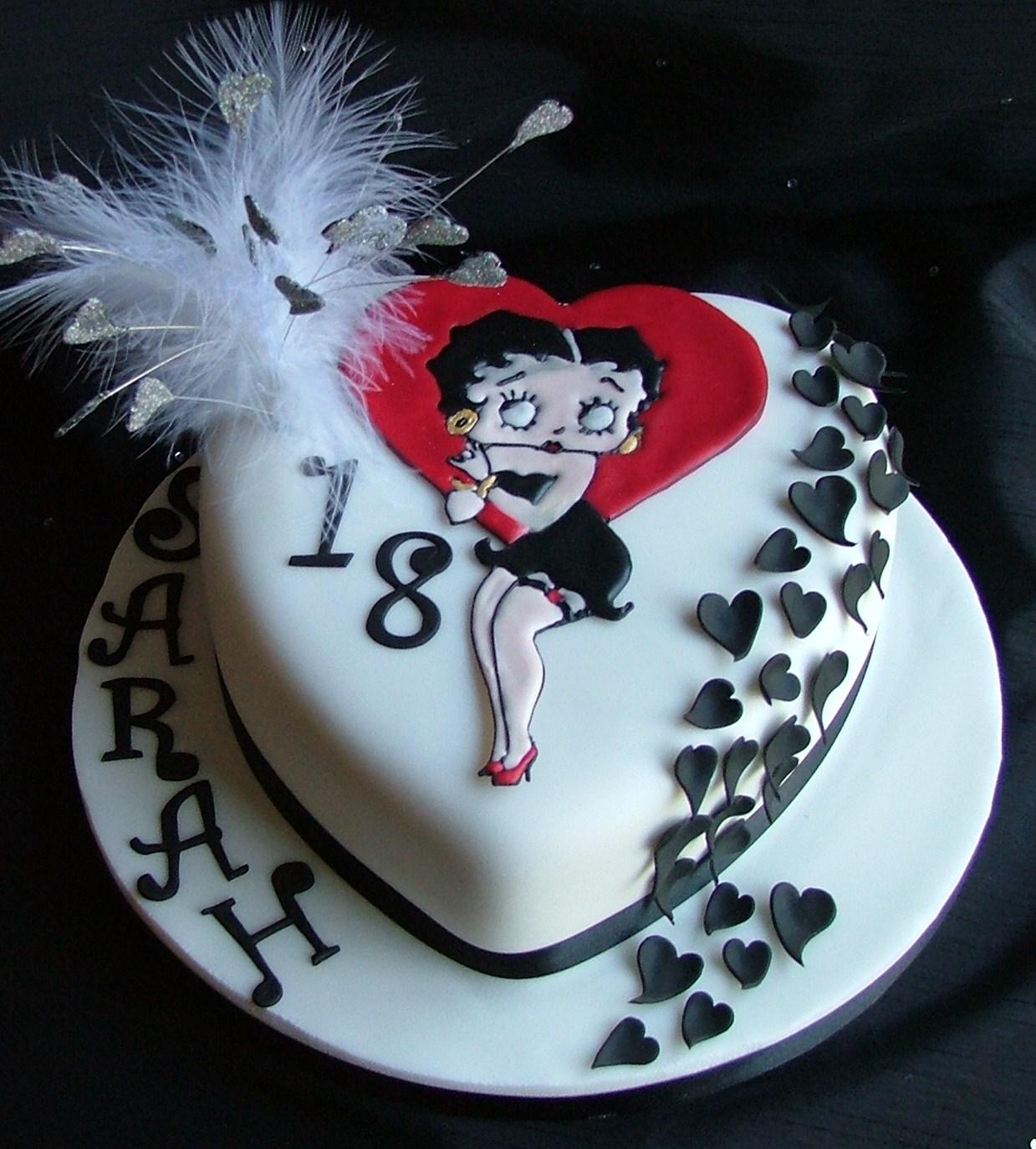 Stupendous Black Hearts Betty Boop Too Nice To Slice Personalised Birthday Cards Veneteletsinfo