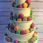Chocolate Wrap & Macarons Wedding Cake