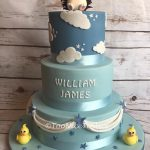 3 tier  boys christening cake with hedgehog