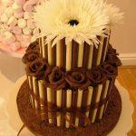 Chocolate cigarello wedding cake, Lytham St Annes, Lancashire