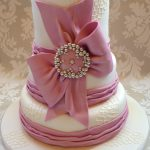 Dusky Rose Pink Bow & Piped Netting Wedding Cake