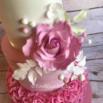 Pretty Pink Rose & Ruffles Wedding Cake