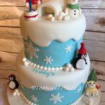 Christmas Scene 1st Birthday Cake