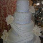 Rachel - Fondant Drapes, Roses & Lace Piping Detail Wedding Cake