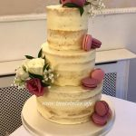Naked Wedding Cake with Macarons