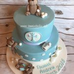 Boys 2 tier Christening cake cute teddies