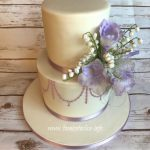Two tier lilac wedding cake