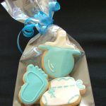 Gift Wrapped Baby Shower or Christening Cookies Pink or Blue Baby Foot, Bootee & Dummy