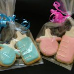 Gift Wrapped Baby Shower or Christening Cookies Pink or Blue Baby Bottle & Dummy