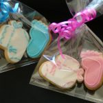 Gift Wrapped Baby Shower or Christening Cookies Pink or Blue Bootie & Baby Foot